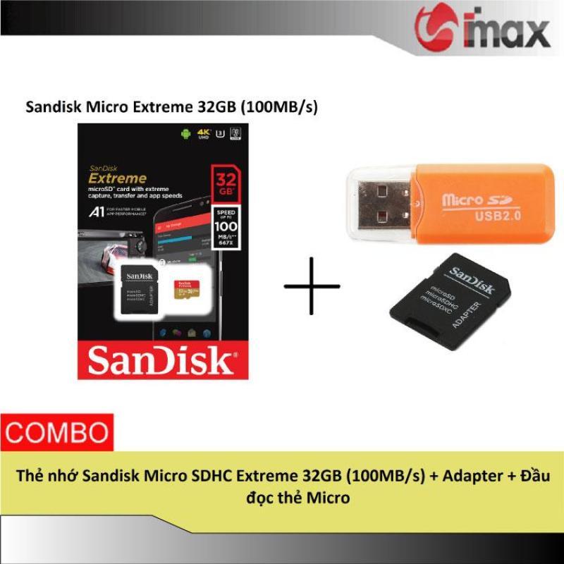 Thẻ nhớ Sandisk Micro SDHC Extreme 32GB (100MB/s) + Adapter + Đầu đọc thẻ Micro