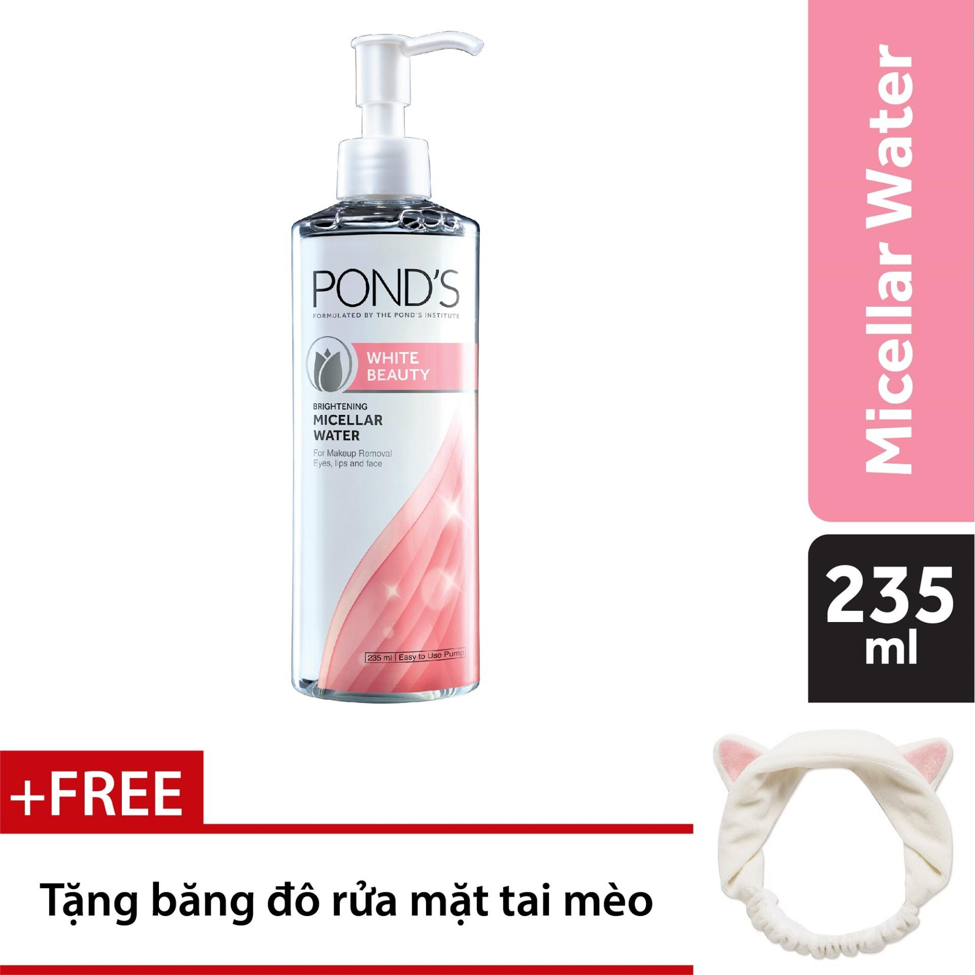 Nước tẩy trang làm sáng da Pond's White Beauty Micellar Water 235ml + Tặng băng đô tai mèo