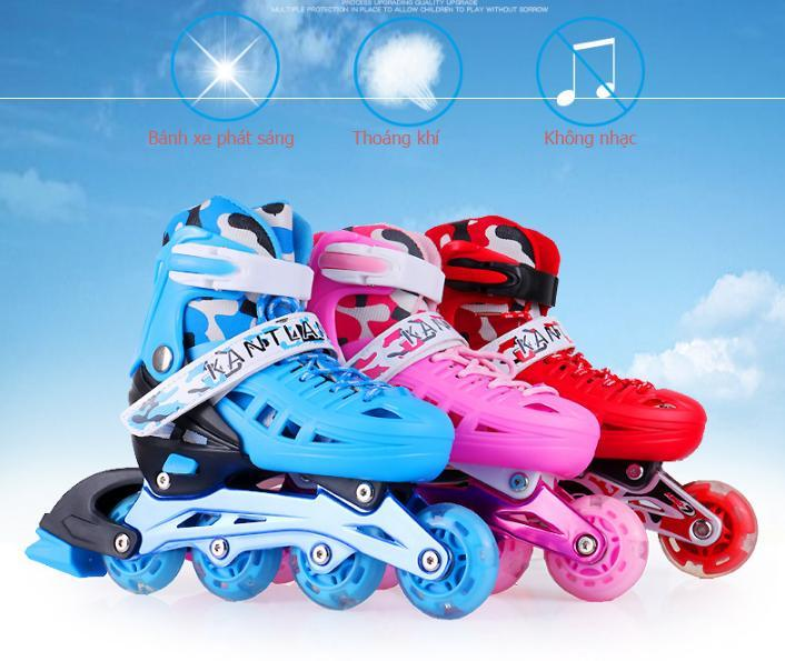 Cách Đi Giày Patin,Giày Trượt Patin Trẻ Em Cao Cấp Chắc Chắn , Ôm Chân , Thoáng Khí ,An Toàn -Tặng Kèm Bộ Đồ Bảo Hộ Khi Trượt Patin