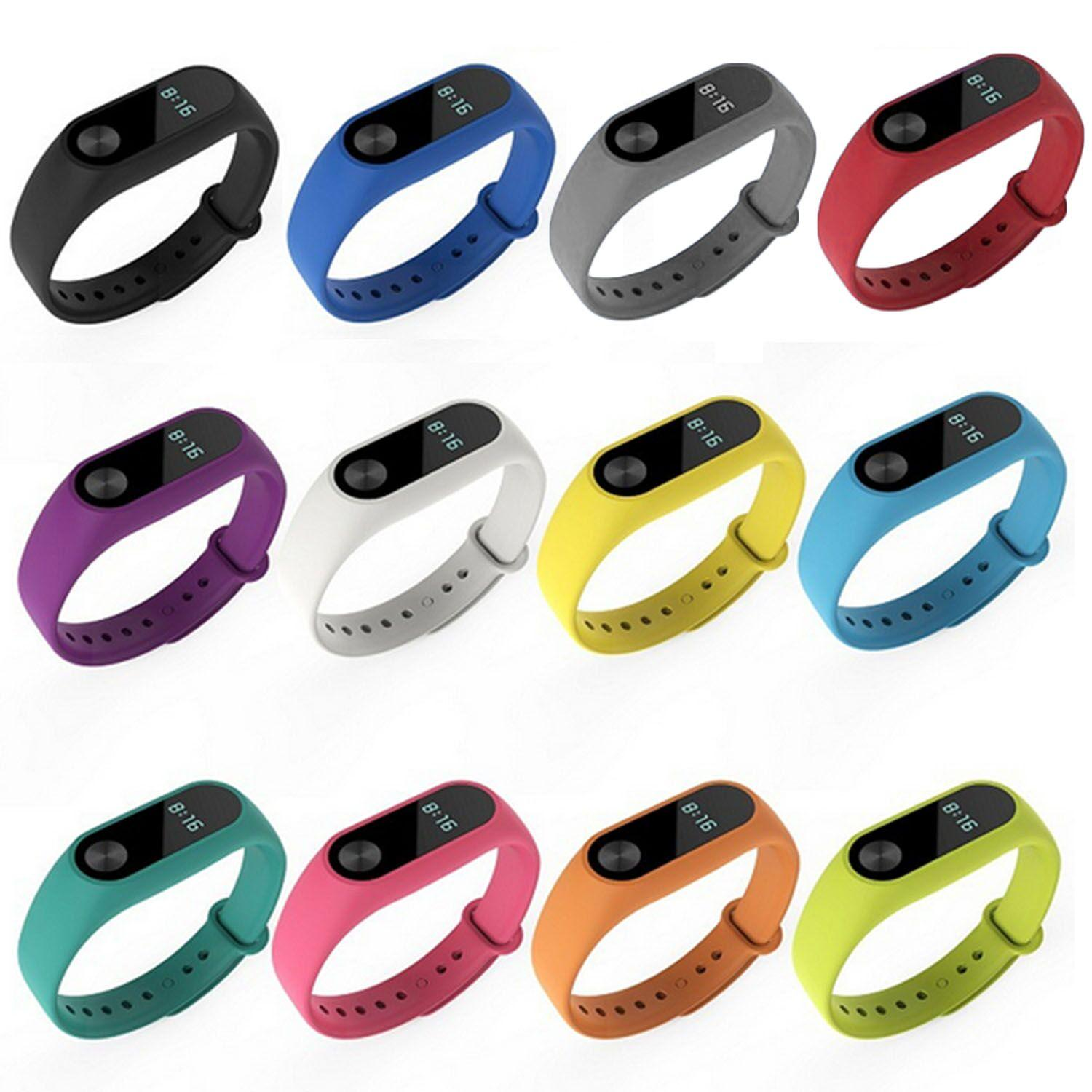 12 pcs Silicone Original Replacement Watchband Wrist Strap for Xiao Mi Band 2 Tracker Smart Watchband Bracelet - intl