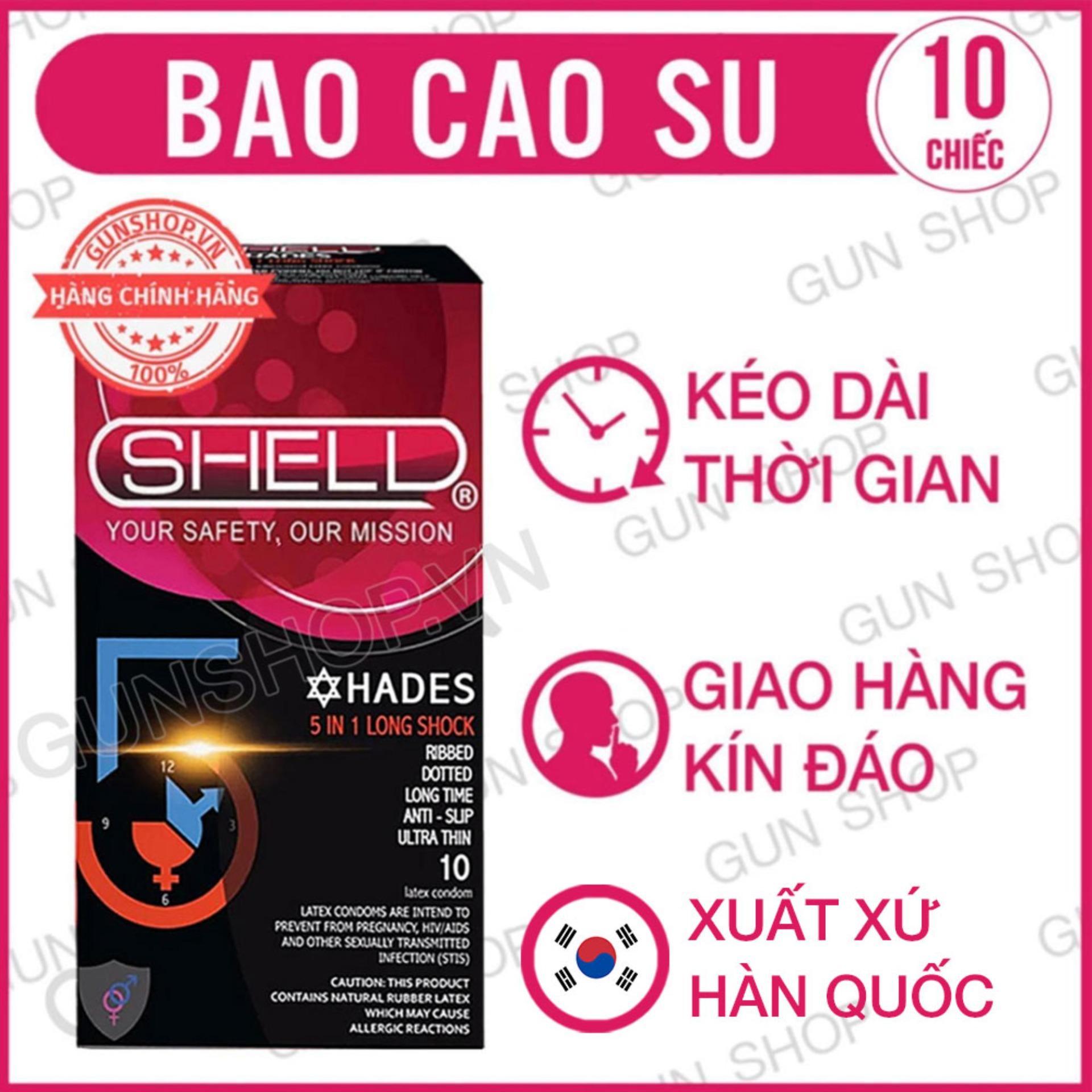 Bao Cao Su Shell Premium 5 In 1 Long Shock gân, gai, kéo dài thời gian, siêu mỏng & thiết kế chống tuột bao ( Hộp 10 chiếc ) - [ Gunshop-BCS01 ] (CT01)