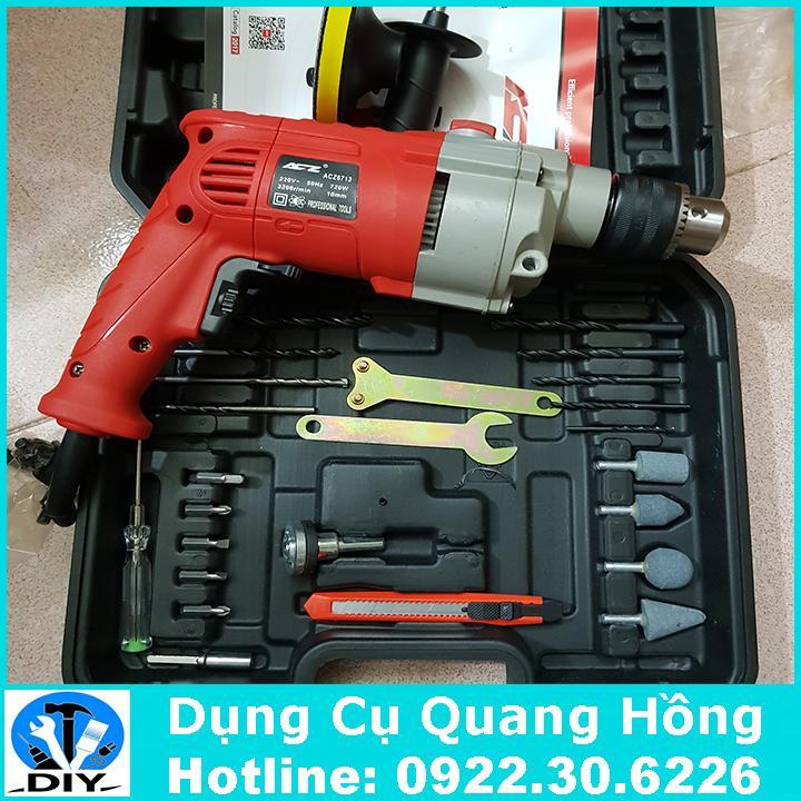 Bộ máy khoan ACZ 6713 đầy đủ phụ kiện khoan và cắt đa năng