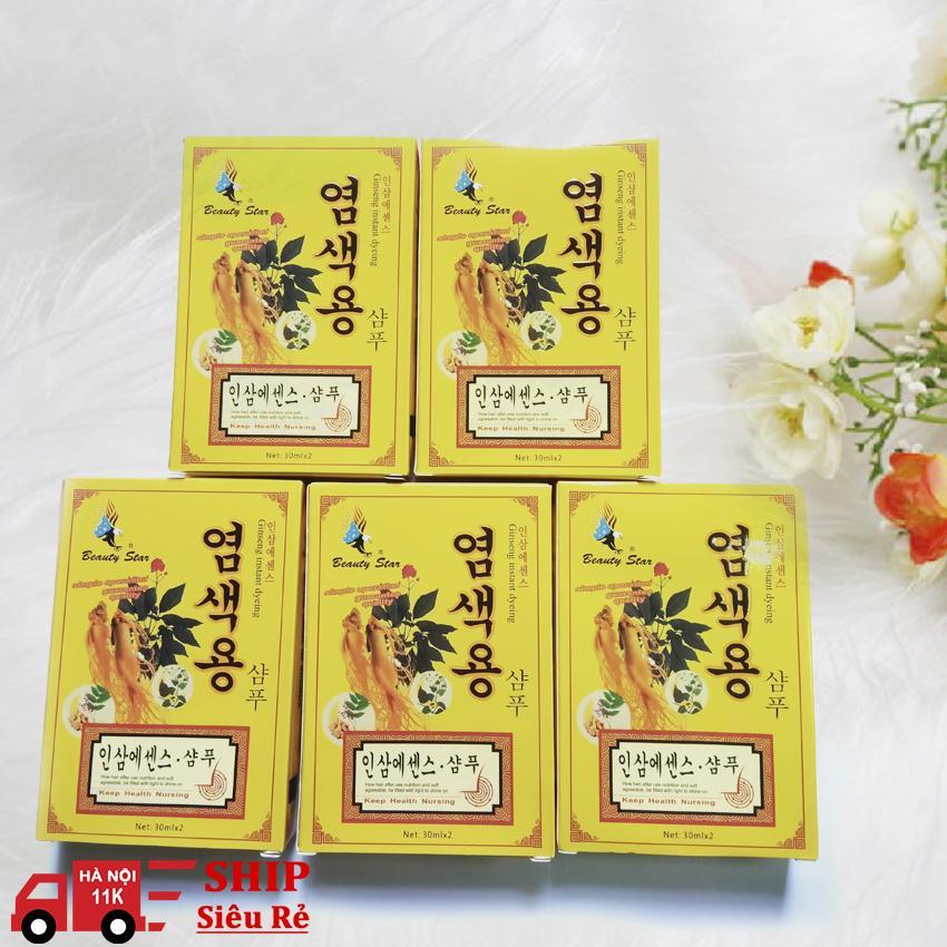 Bộ 5 hộp dầu gội đen tóc Hàn Quốc Beauty Star ( 30ml x 2) - Đen bóng chỉ sau 1 lần gội
