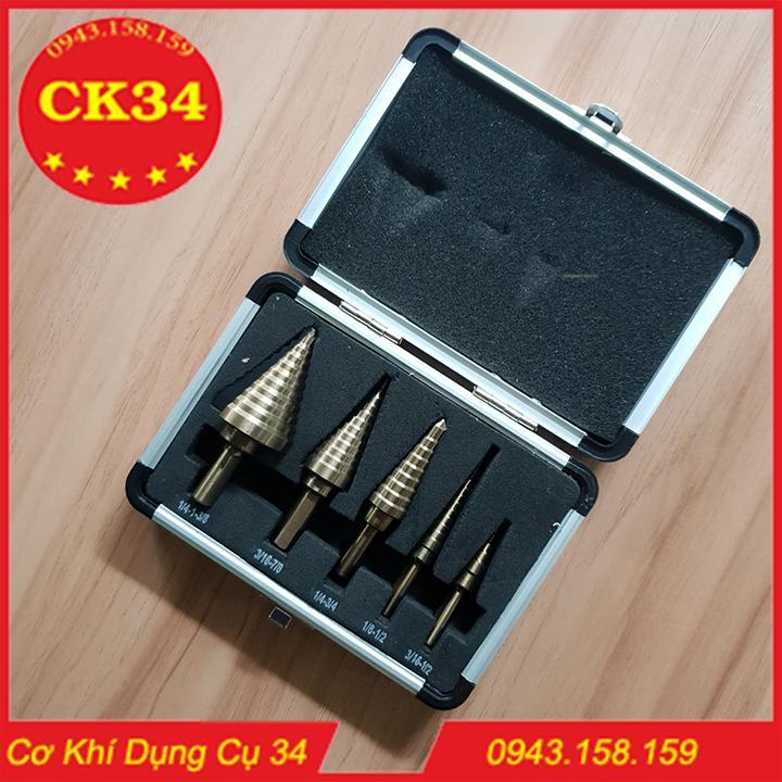 Bộ 5 mũi khoan bước tháp HSS 4 - 35mm khoan kim loại,thép,sắt,nhôm,gỗ