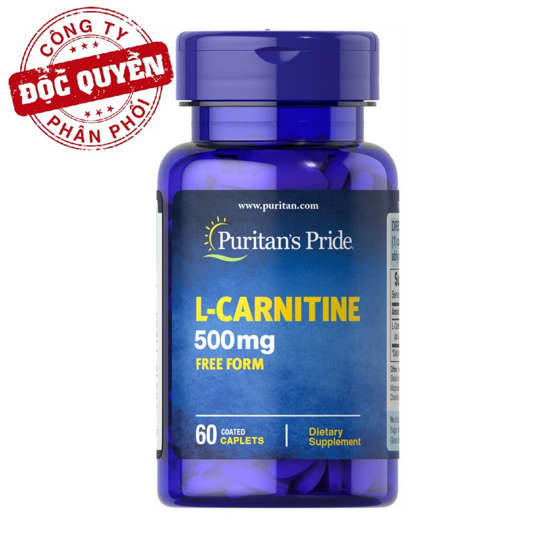 Viên uống hỗ trợ giảm cân không tác dụng phụ, giúp cơ thể săn gọn, hỗ trợ chức năng thận Puritans Pride L-Carnitine 500mg 60 viên HSD tháng 9/2018