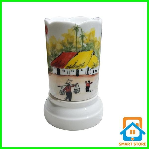 Đèn xông tinh dầu sứ Bát Tràng hình Ống cỡ TO 9 x 16,5cm / Đuổi muỗi Diệt muỗi Đèn trang trí SS36
