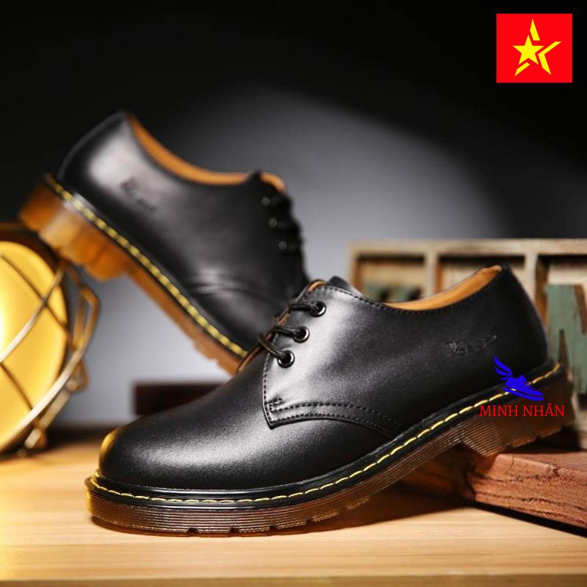 Giày đốc nam da bò giày Dr.Marten da bò Giày tây nam da bò giày buộc dây nam giày bảo hộ nam giày da trơn đế khâu B-9 màu đen