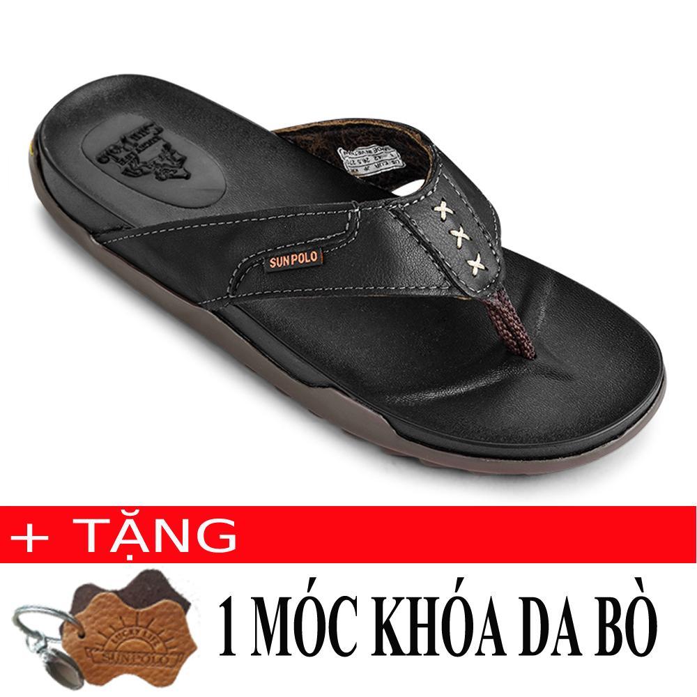 Voucher Ưu Đãi Dép Kẹp Nam Da Bò SunPoLo PUS15D (Đen) + Tặng Móc Khóa Da Bò