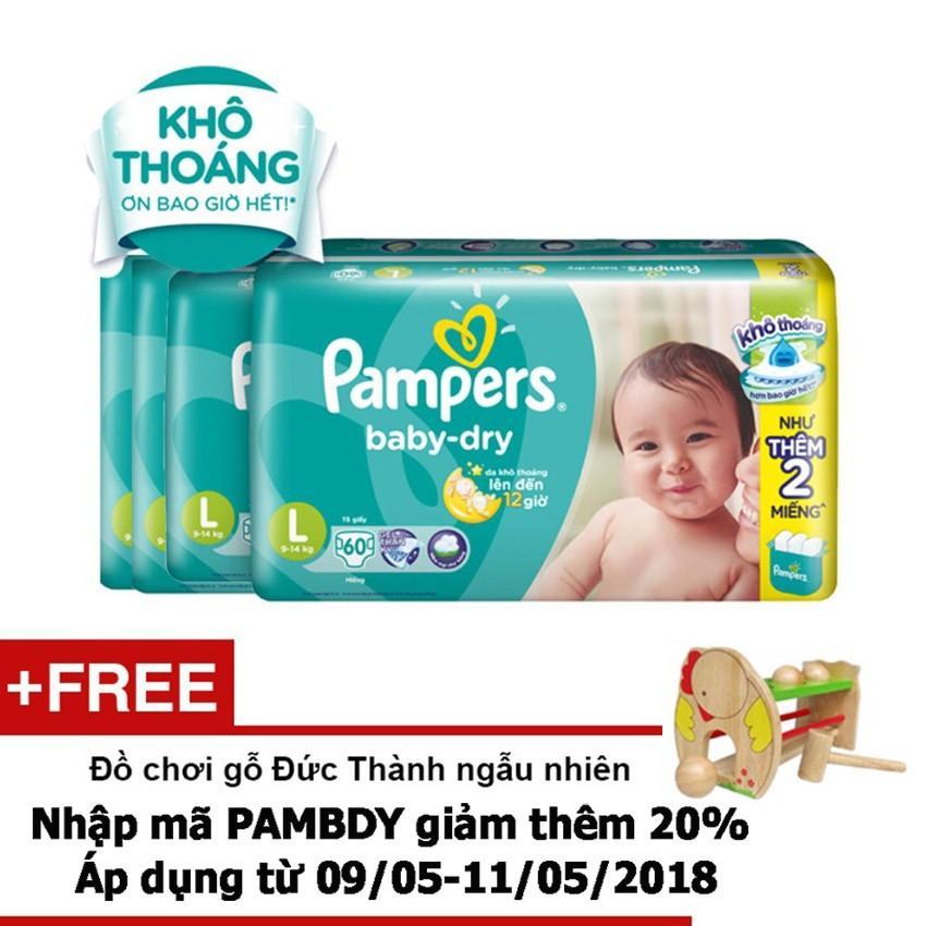 Mua Bộ 4 Goi Ta Dan Pampers Baby Dry Size L 60 Miếng Tặng 1 Đồ Chơi Gỗ Đức Thanh Ngẫu Nhien Trị Gia 180 000 Vnd Pampers