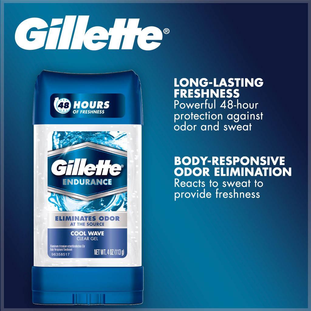 [USA] Lăn khử mùi nam Gillette Endurance Clear Gel Cool Wave 107g hoặc Cool Wave 5 in 1 nhập khẩu