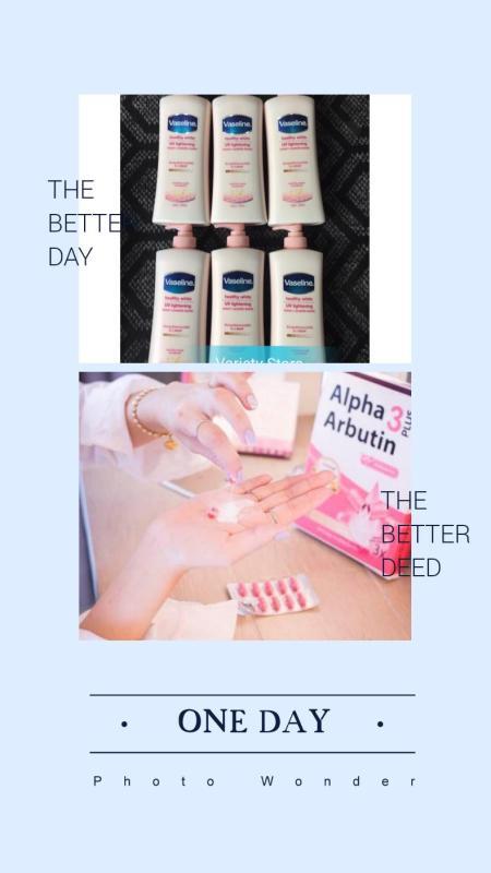 Combo bộ sữa dưỡng thể trắng da Vaseline 350ml & viên kích trắng alpha Arbutin Thailand vĩ 10 viên nhập khẩu