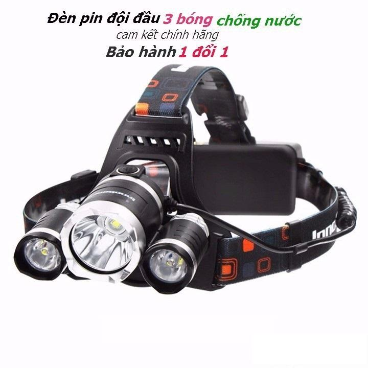 Hình ảnh Đèn pin đội đầu, trán sạc 3 bóng led siêu sáng chống nước