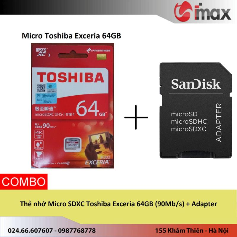 Thẻ nhớ Micro SDXC Toshiba Exceria 64GB (90Mb/s) + Adapter