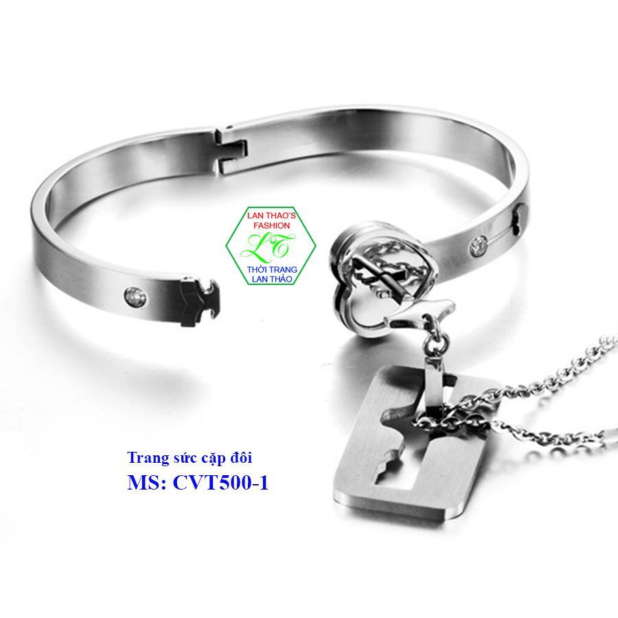 Trang sức cặp đôi Titan Vòng tay ổ khóa-dây chuyền chìa khóa cao cấp CVT500
