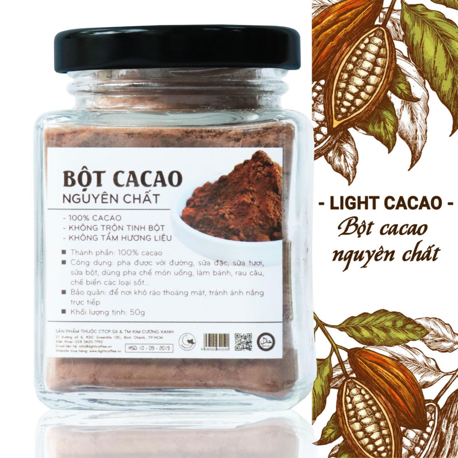 Bột cacao nguyên chất không đường Light Cacao - hũ 50gr