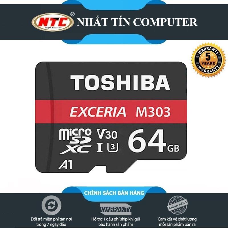 Thẻ nhớ MicroSDXC Toshiba Exceria M303 64GB UHS-I U3 4K V30 A1 - R98MB/s W65MB/s (Đen) - Nhất Tín Computer