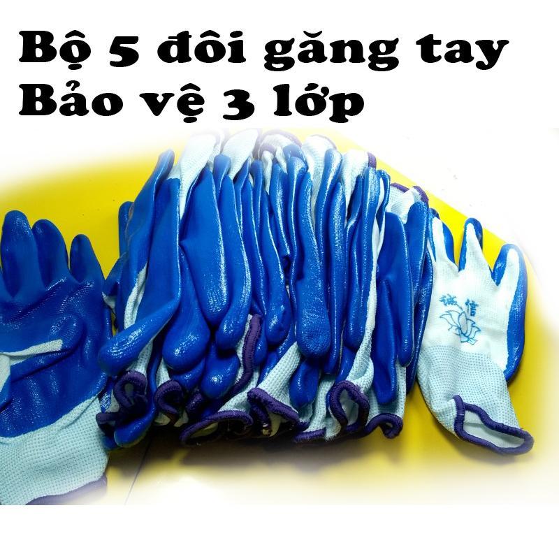 Hình ảnh Bộ 5 đôi găng tay lao động bảo vệ 3 lớp