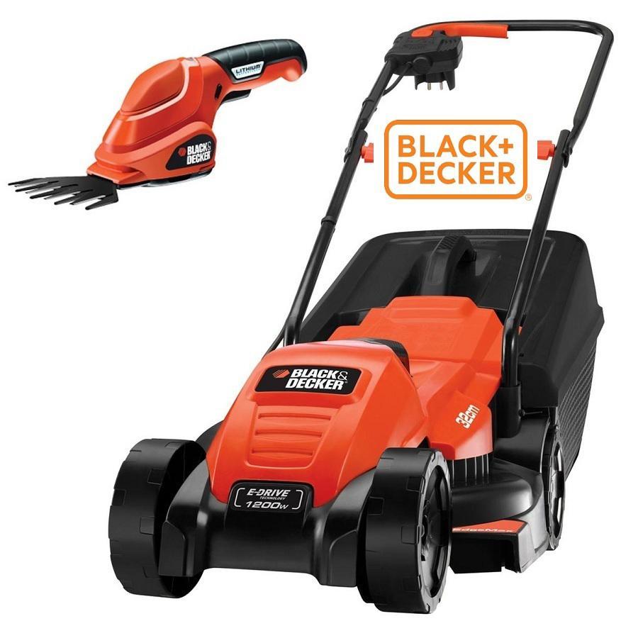 Máy cắt cỏ đẩy tay 1200W hiệu Black & Decker kèm phụ kiện tỉa lá pin Lithium 3.6V EMAX32GSL2-B1
