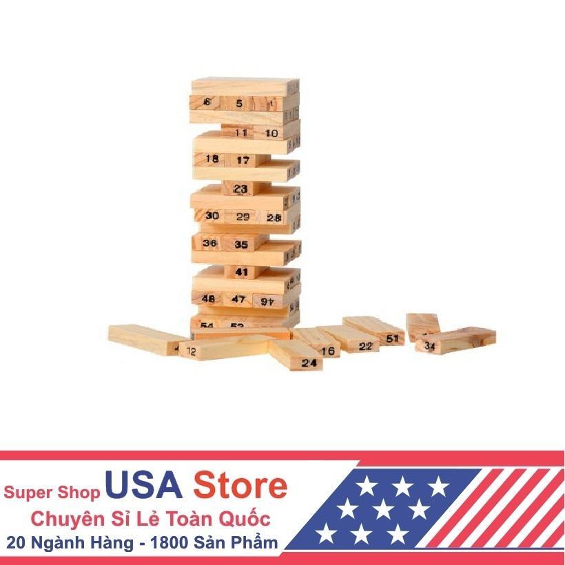 Trò chơi rút gỗ 54 thanh (Chọn Màu)(Nâu gỗ)
