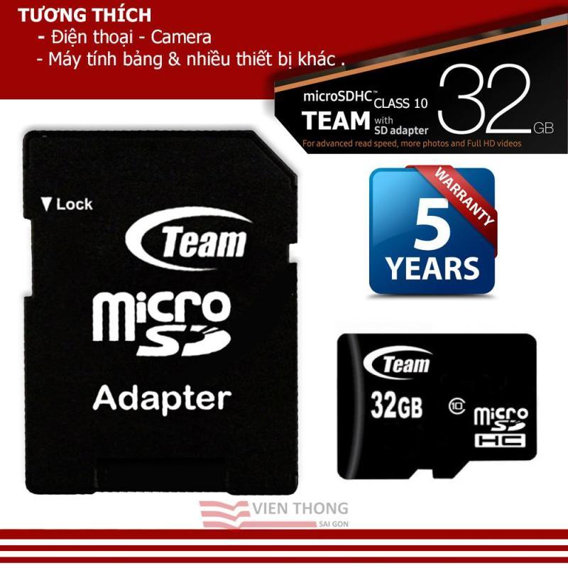 Thẻ nhớ 32GB Class10 Team Group Micro SDHC + Adapter - Hãng phân phối chính thức
