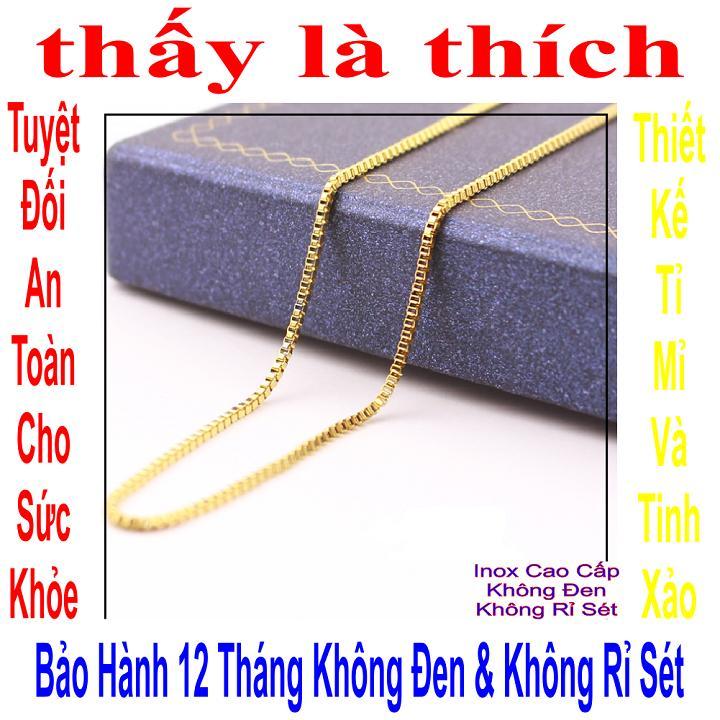 Giá bán Dây chuyền trẻ em inox mạ vàng thấy là thích kiểu ô vuông chữ nhật - DCTE00256V030059