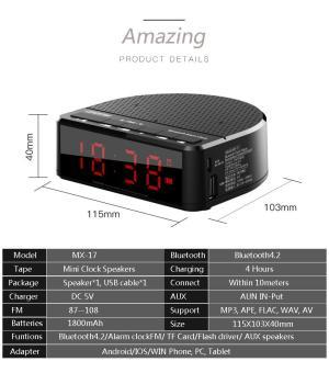 ... Kiêm Đồng Hồ Báo Thức - Phân phối Loa Bluetooth mini MX17 kiêm đồng hồ báo  thức thiết kế thông minh tinh tế,bluetooth 4.2, pin cực khủng, âm thanh ...
