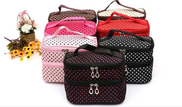 Túi đựng mỹ phẩm đồ trang điểm chấm bi hai tầng.Phong cách Hàn Quốc( nhiều màu)