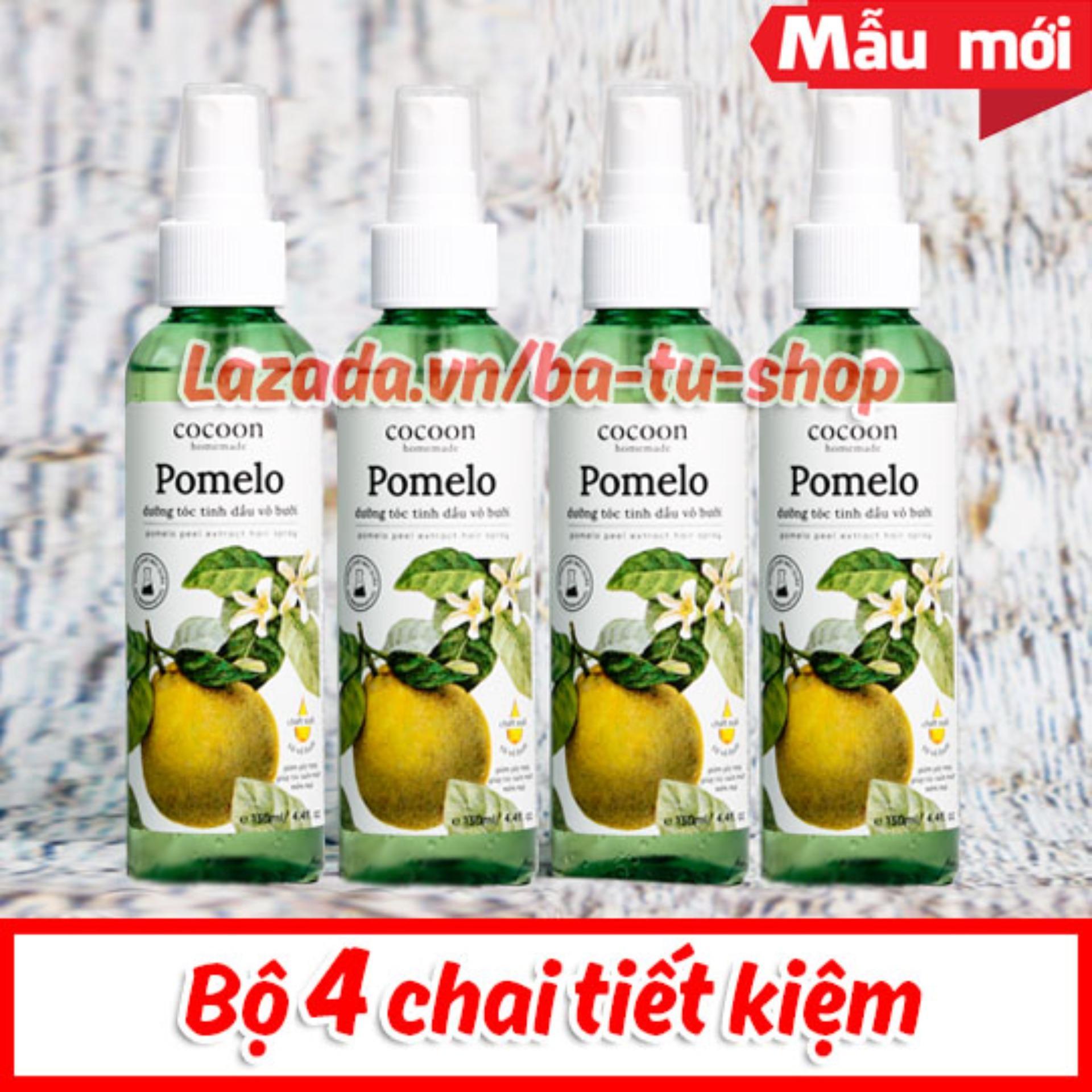 Bộ 4 chai Xịt dưỡng tóc Tinh Dầu Bưởi trị rụng tóc Pomelo (130mlx4) tốt nhất