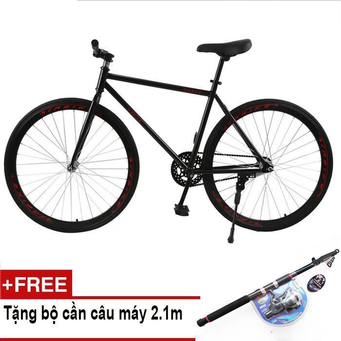 Mua Mishio - Xe đạp Fixed Gear Air Bike MK78 (đen) + Tặng bộ cần câu máy 2.1m