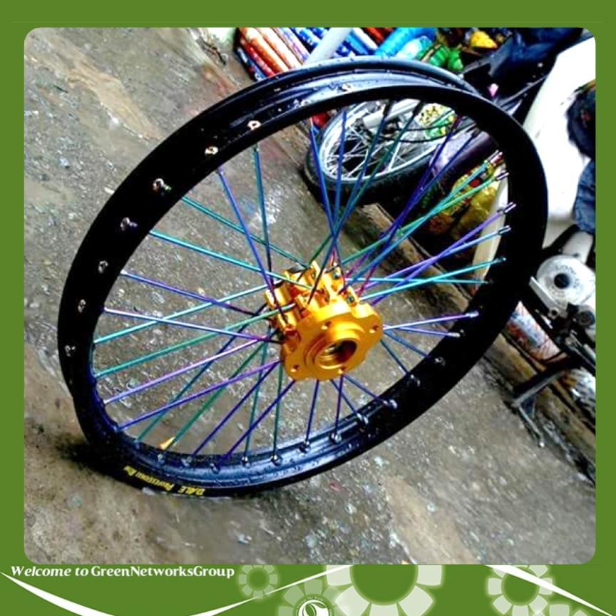 Bộ căm xe máy 7 màu titanium cho honda yamaha suzuki GreenNetworks (1 bộ 2 bánh thắng đùm)