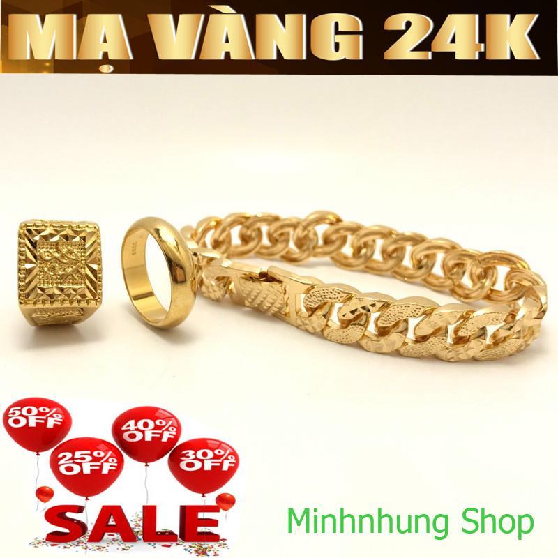 COMBO 03 Bộ trang sức mạ vàng 24k gồm ( Lắc tay - Nhẫn phát lộc - Nhẫn trơn 5 chỉ ) không phai mầu