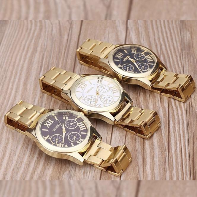 Hình ảnh Đồng hồ thời trang nam Geneva dây thép không gỉ ( màu vàng )