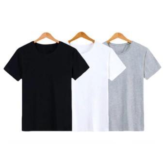 Bộ 3 áo thun trơn nam form rộng phong cách hàn quốc vải dày mịn AOTHUN102 (Trắng - Đen - Xám)