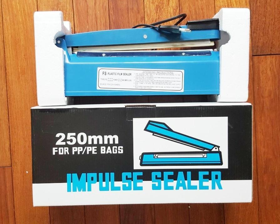 Máy hàn túi nilon dập tay Impulse Sealer 25cm  PFS-250  + Tặng Bộ dây nhiệt thay thế máy hàn túi 250mm[SEAL]