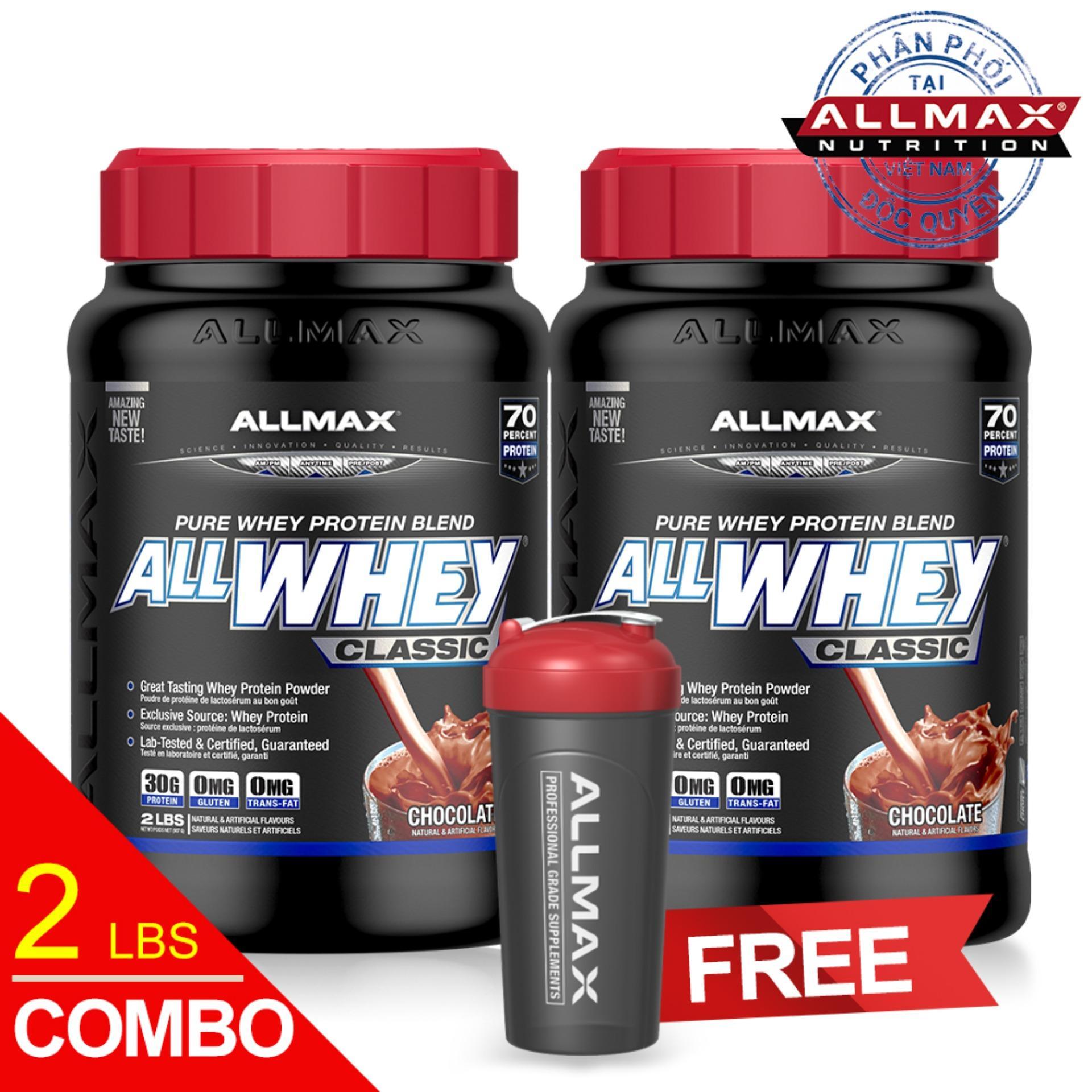Hình ảnh Set 2 hộp thực phẩm bổ sung whey protein cao cấp ALLMAX ALLWHEY CLASSIC CHOCOLATE