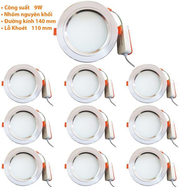 Bộ 10 Đèn Led âm trần viền bạc 9w 3 màu  ánh sáng trắng -vàng nắng-vàng ấm