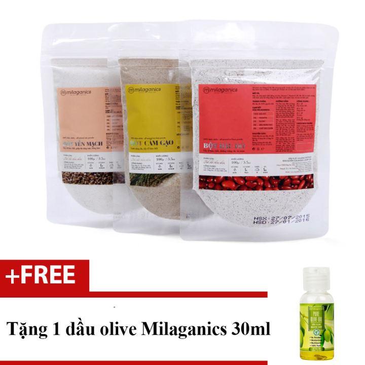 Bộ 1 bột cám gạo 100g + 1 bột yến mạch 100g và 1 bột đậu đỏ Milaganics 100g + Tặng 1 dầu olive 30ml nhập khẩu