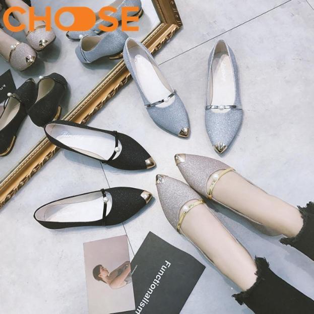 Giày Lười Slip-on Nữ/Giày Đế Bệt Nhũ Kim Tuyến, Mũi Nhọn Đính Khuya Cài Sang Chảnh 1501 giá rẻ