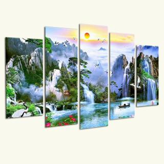 [Sale] Tranh gỗ treo tường Thác nước sơn thủy ST910058- Tranh treo tường khổ lớn 3D [5 tấm rộng 2m cao 1,2m] SuperDecor thumbnail