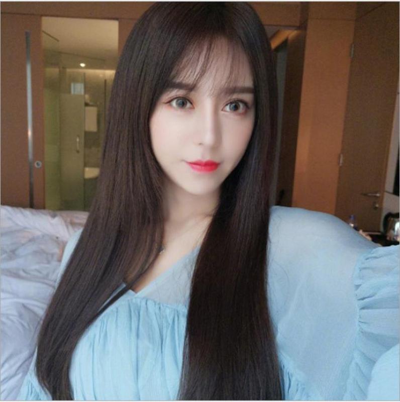 [TẶNG KÈM LƯỚI] Tóc giả nữ suông dợn tự nhiên Hàn Quốc cao cấp CÓ DA ĐẦU -  TG5160 ( MÀU NÂU TỐI ) nhập khẩu