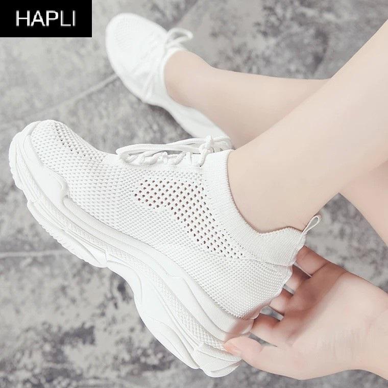 (VIDEO) Giày sneaker nữ độn đế đẹp cổ chun HAPLI (Trắng)