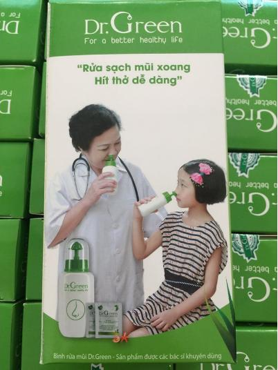 Bình rửa mũi Dr.Green kèm 10 gói muối nha đam nhập khẩu