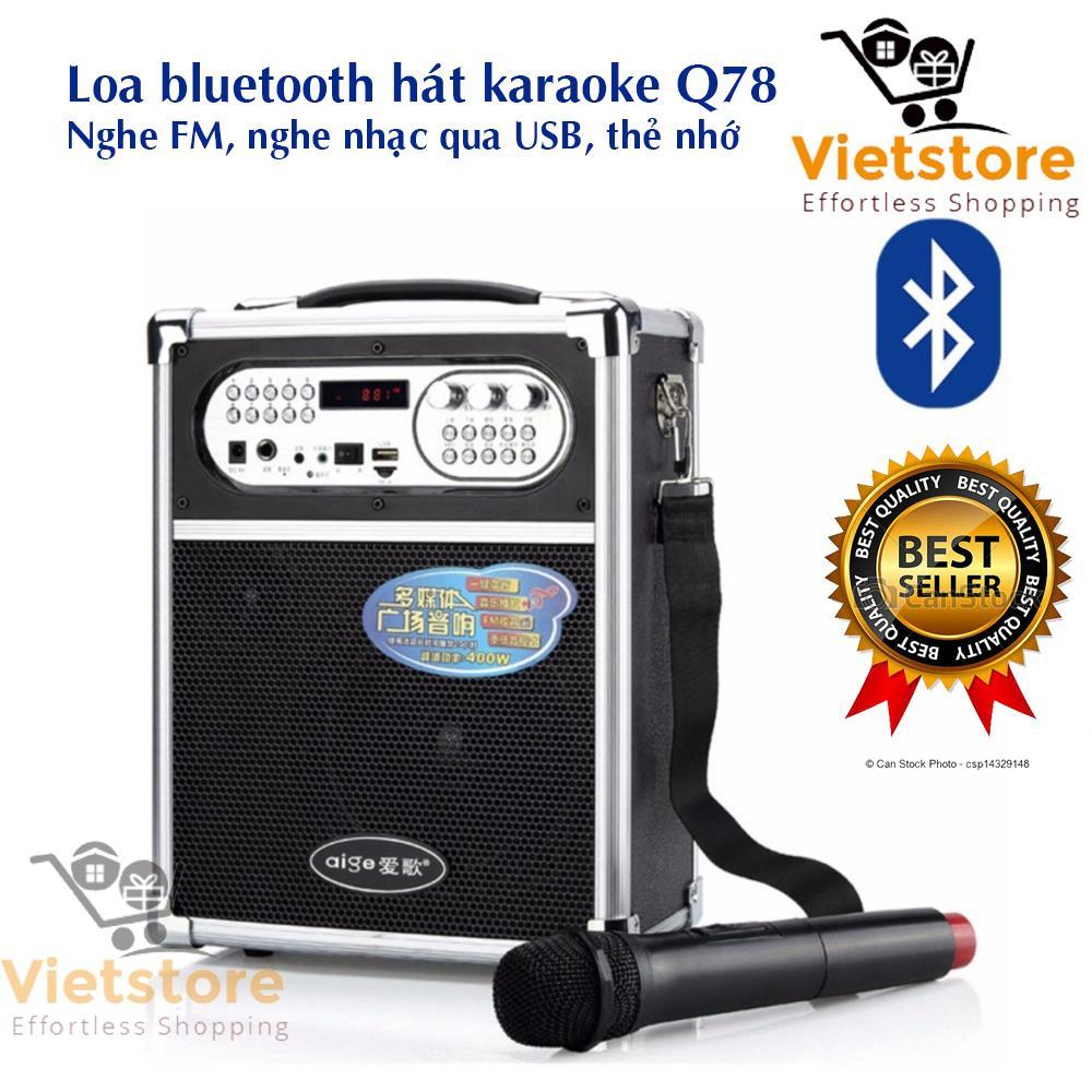Giá Bán Loa Bluetooth Cao Cáp Am Thanh Hifi Hat Karaoke Kiem Trợ Giảng Đa Năng Tặng Kem Mic Khong Day Q78Bt 2018 Mới