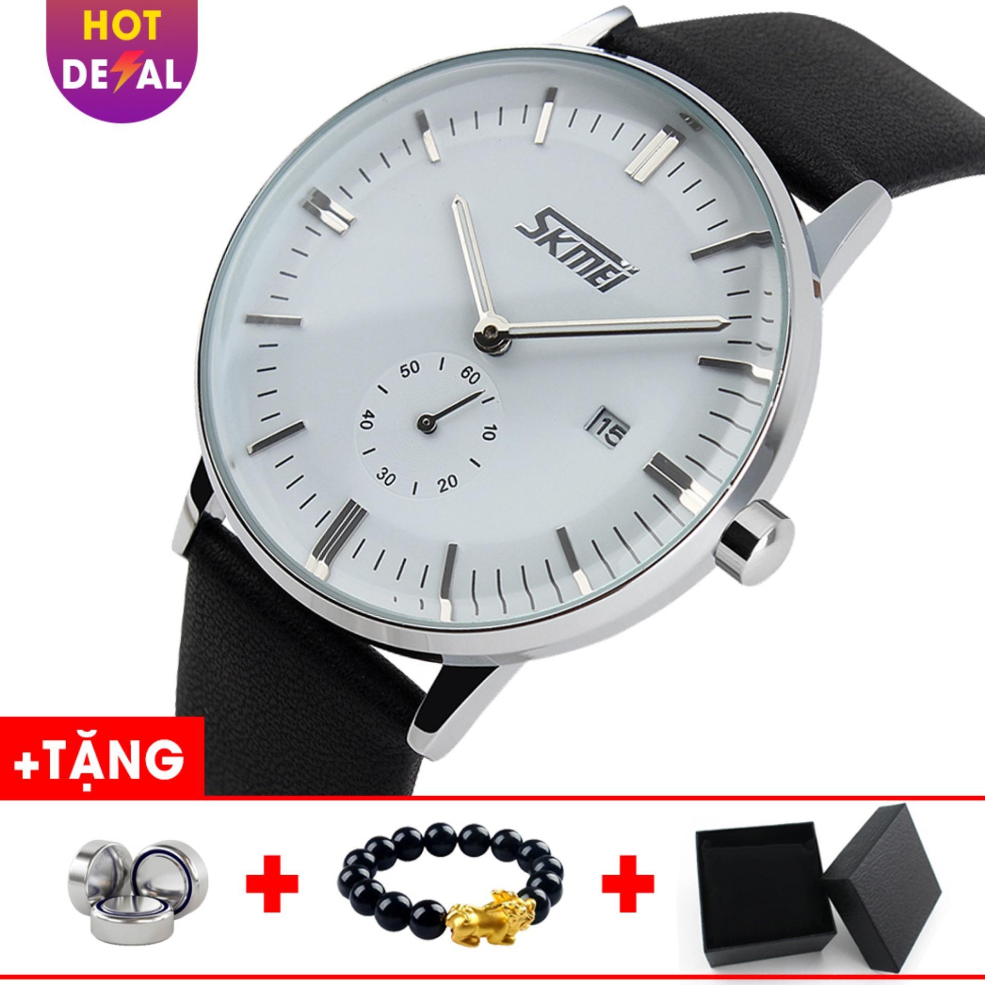 Đồng hồ nam dây da cao cấp SKMEI SK007 - Boss Watches (Trắng) bán chạy