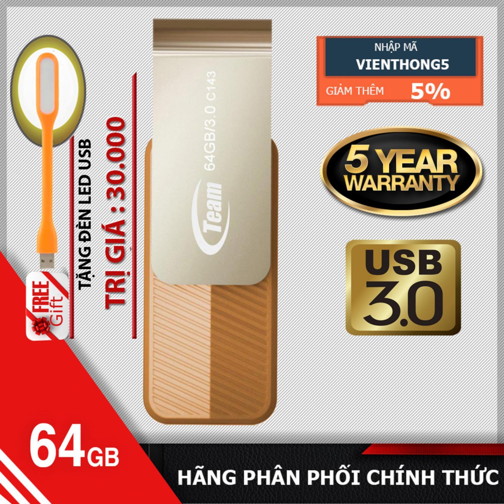 Hình ảnh USB 3.0 64GB Team Group INC C143 + Tặng đèn led USB