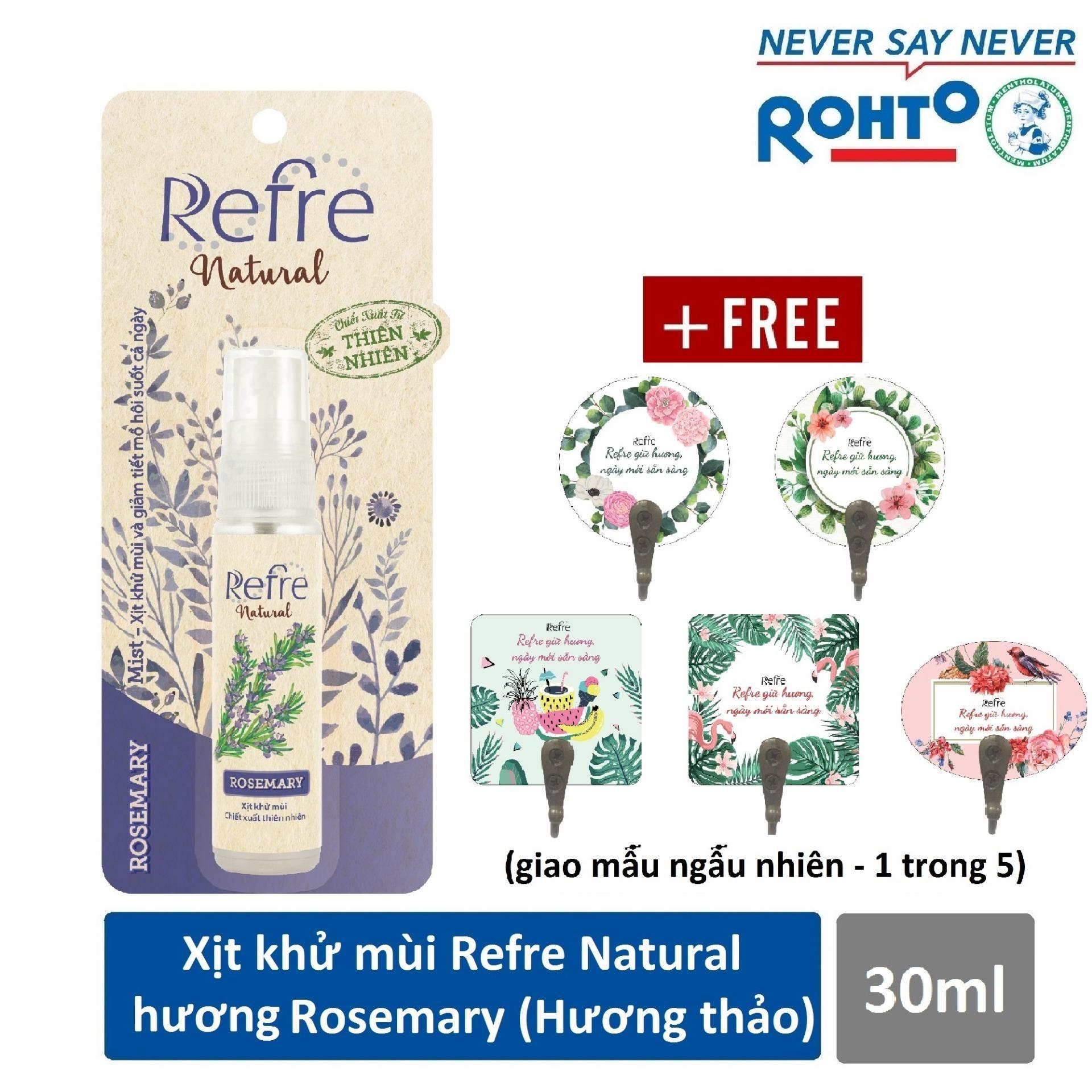 Xịt Khử Mùi Refre Natural Rosemary Hương Hương Thảo (30ml) + Tặng móc gỗ dán tường xinh xắn cao cấp