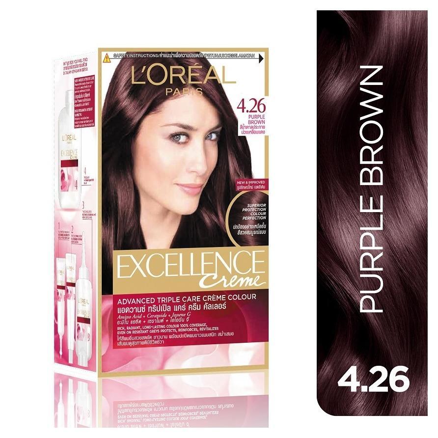 Thuốc nhuộm tóc Loreal Excellence Creme #4.26 Purple Brown ( Nâu tím ánh đỏ ) - Tặng nón trùm tóc