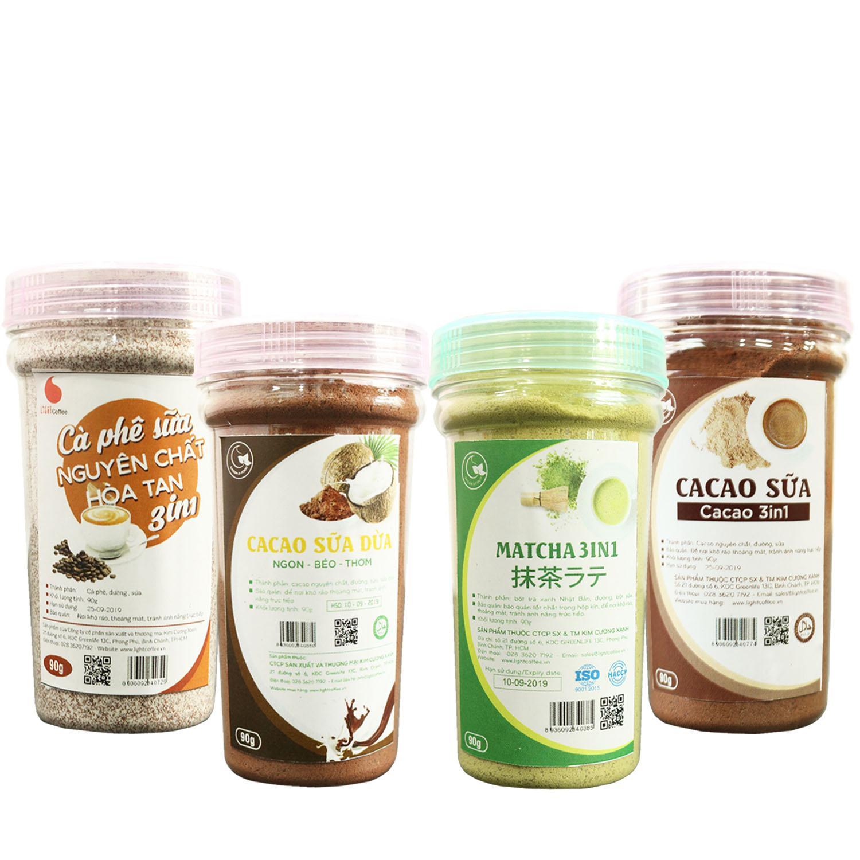 Combo 4 hũ bột hòa tan pha thức uống hiện đại Green D Food - 90g/hũ