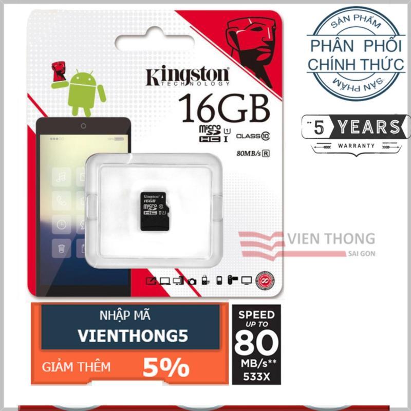Thẻ nhớ 16GB Kingston UHS1 Up to 80MB/s Class10 microSDHC (Đen) - Hãng Phân phối chính thức