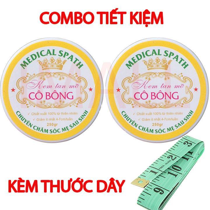 Bộ 2 hộp Kem tan mỡ Cô Bông (250g) giúp giảm mỡ bụng tặng thước dây nhập khẩu